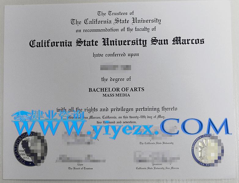 美国加州州立大学圣马科斯分校文凭办理