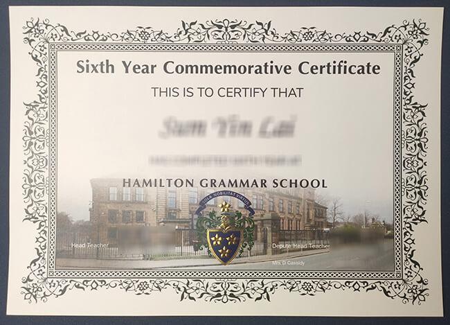 Get fake Hamilton Grammar School certificate in Scotland. 快速获得汉密尔顿文法学校证书