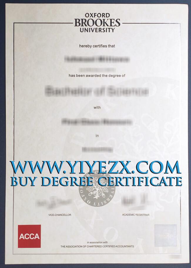 Oxford Brookes University certificate