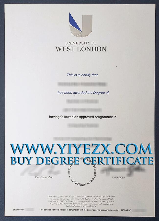 University of West London certificate