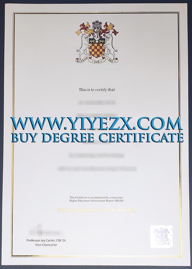 University of Winchester cerrtificate
