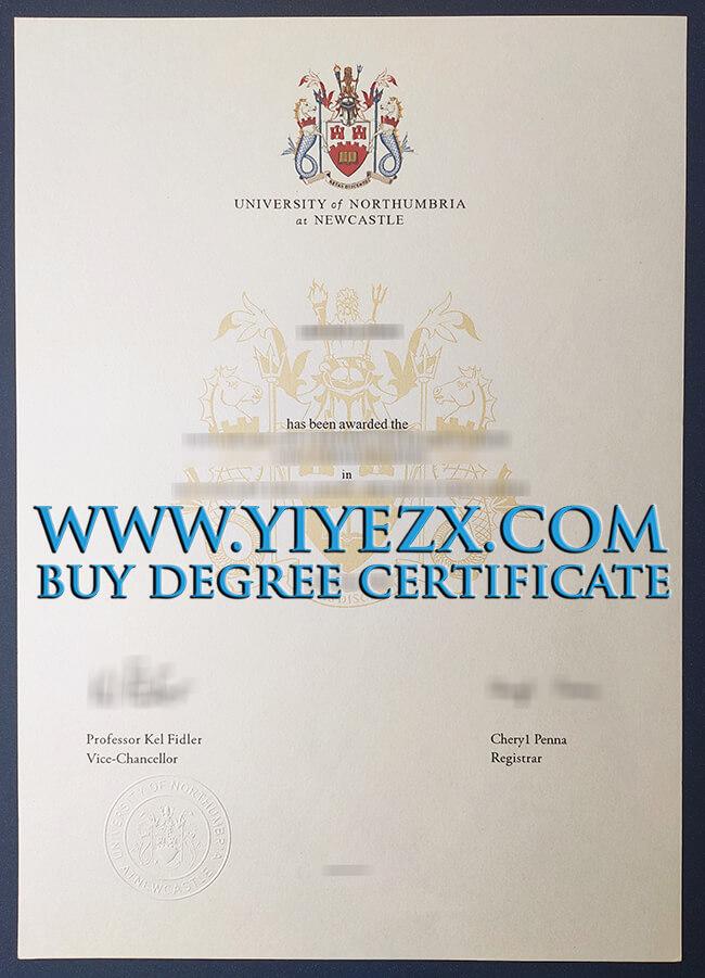 Northumbria University certificate 诺桑比亚大学证书
