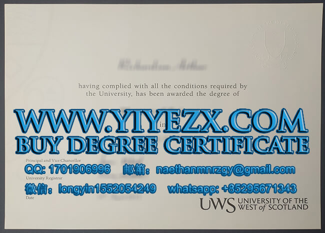 University of the West of Scotland degree 西苏格兰大学学位证书