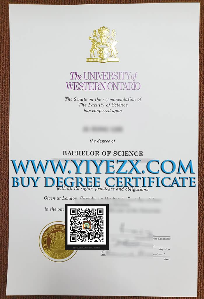 西安大略大学文凭证书样本, Buy fake University of Western Ontario BSc diploma