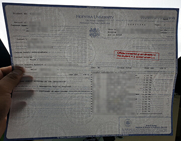 Buy Hofstra University fake transcript, 霍夫斯特拉大学成绩单水印样本
