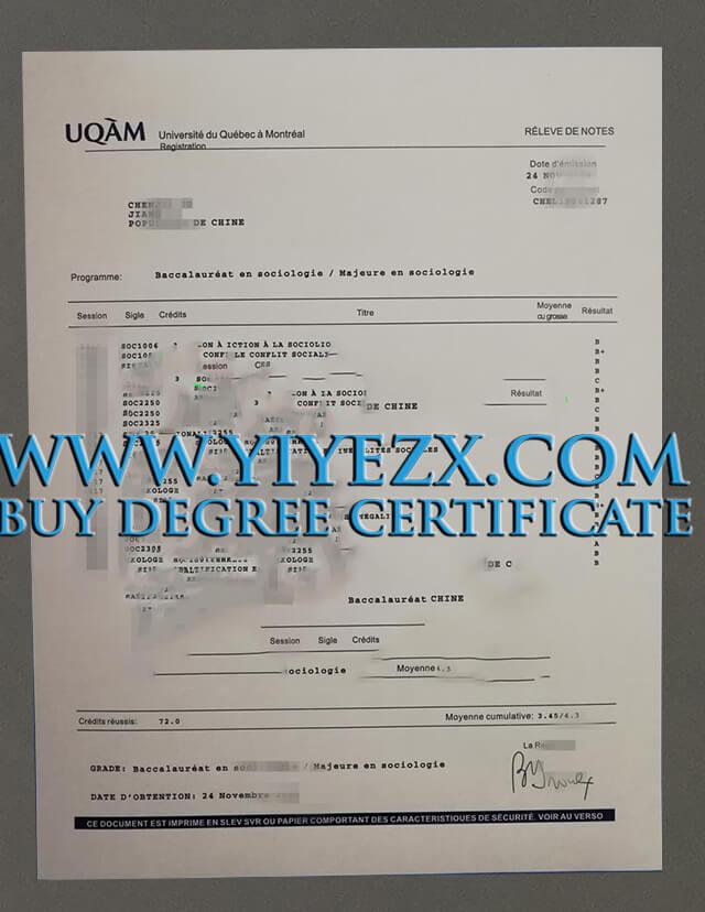 UQAM transcript, UQAM diploma