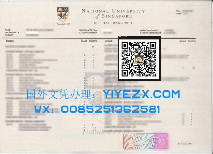 National University of Singapore (NUS) transcript,  新加坡国立大学成绩单