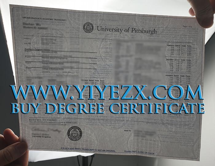 University of Pittsburgh transcript