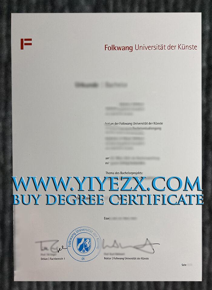 富克旺根艺术大学文凭定制, Buy Folkwang Universität der Künste diploma