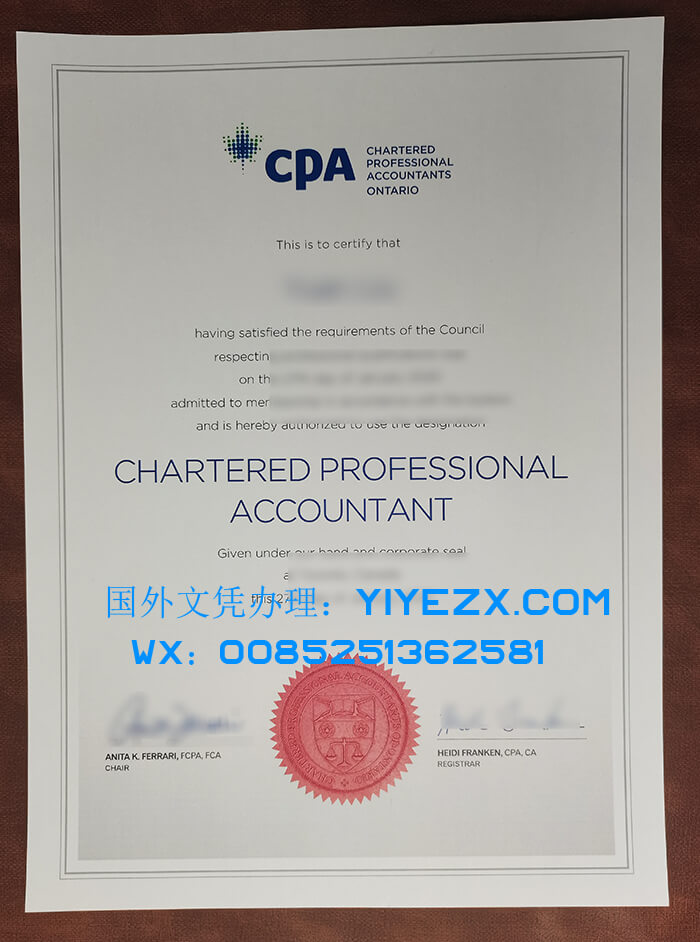 Chartered Professional Accountants Ontario (CPA) Fake Certificate