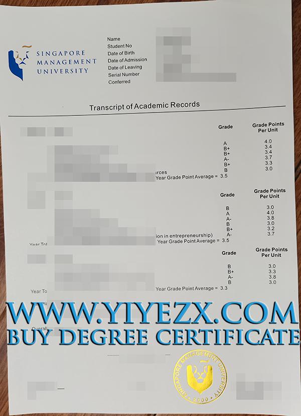fake Singapore Management University transcript