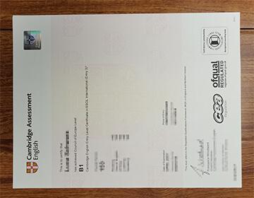 Fake Cambridge Assessment English B1 certificate sample, Buy fake certificate online